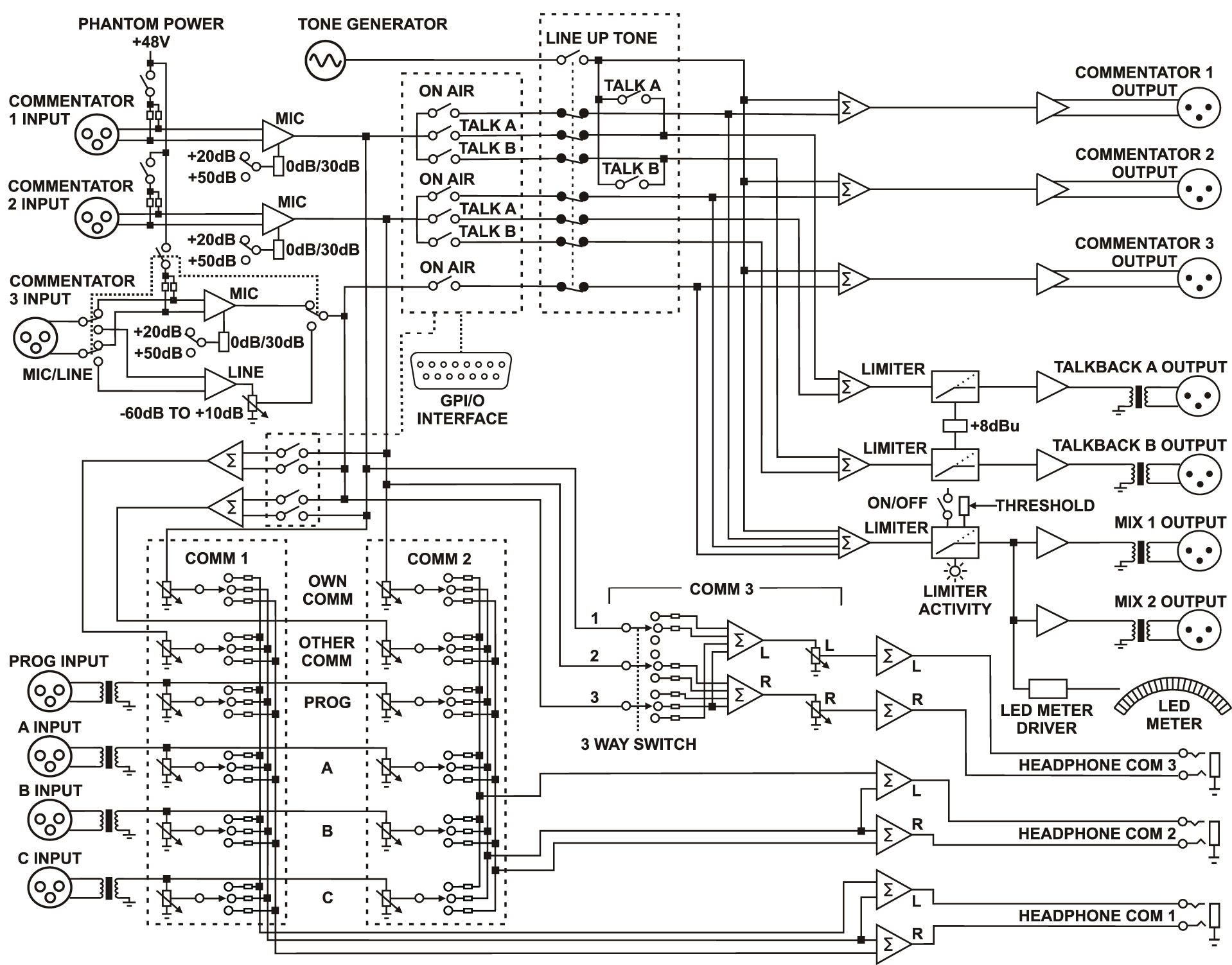 studio monitor headphones circuit diagram