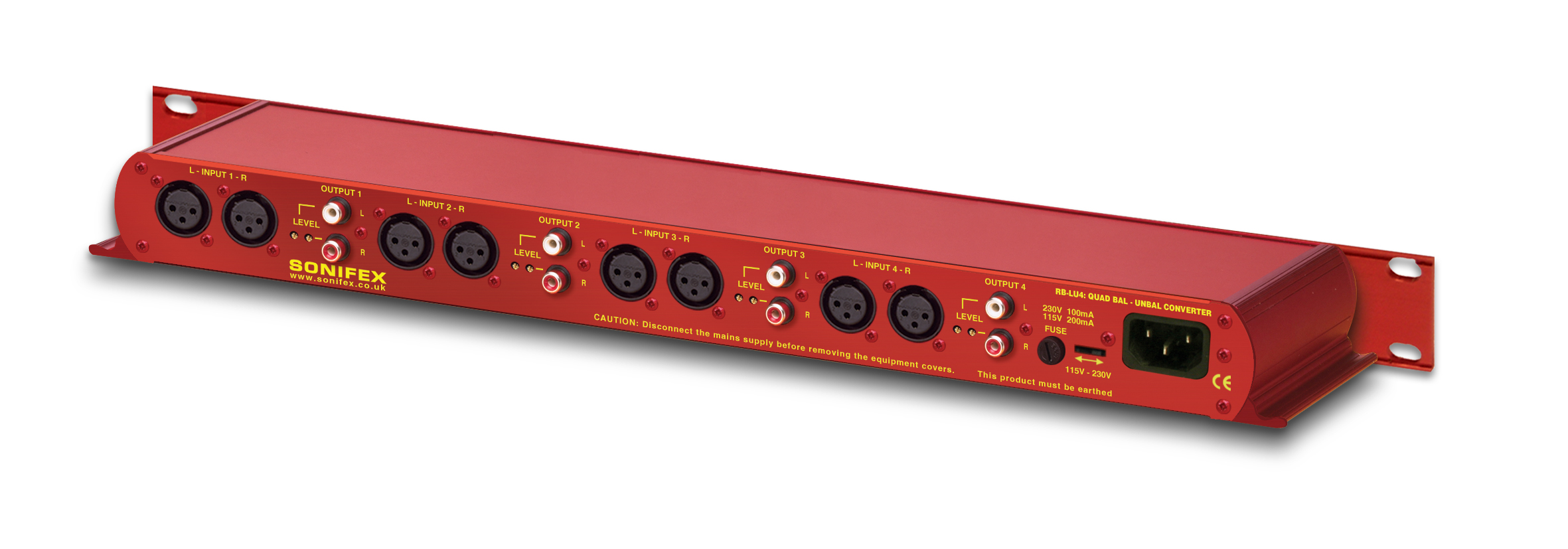 "Sonifex RB-LU4 Quad Stereo Balanced to Unbalanced Converter on 1 4"" plug wiring, balanced audio cable schematic, 1 4 aaudio wiring, balanced rca jack diagram, balanced audio wiring, balanced microphone wiring, balanced trs wiring, rca wiring, balanced to unbalanced wiring, balanced phono wiring,"