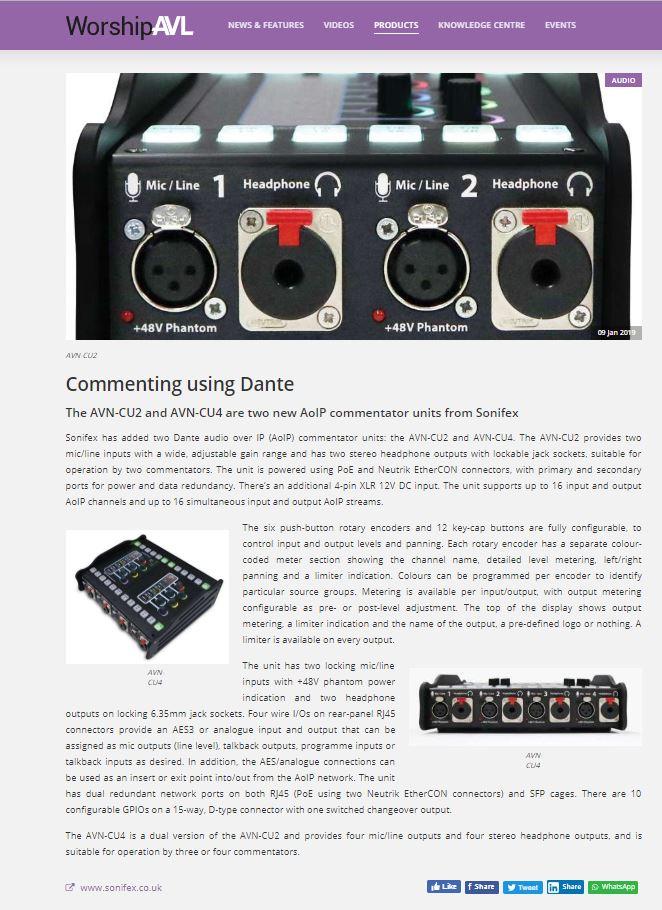 Sonifex AVN-CU2-DANTE Configurable Dante Commentary Unit for