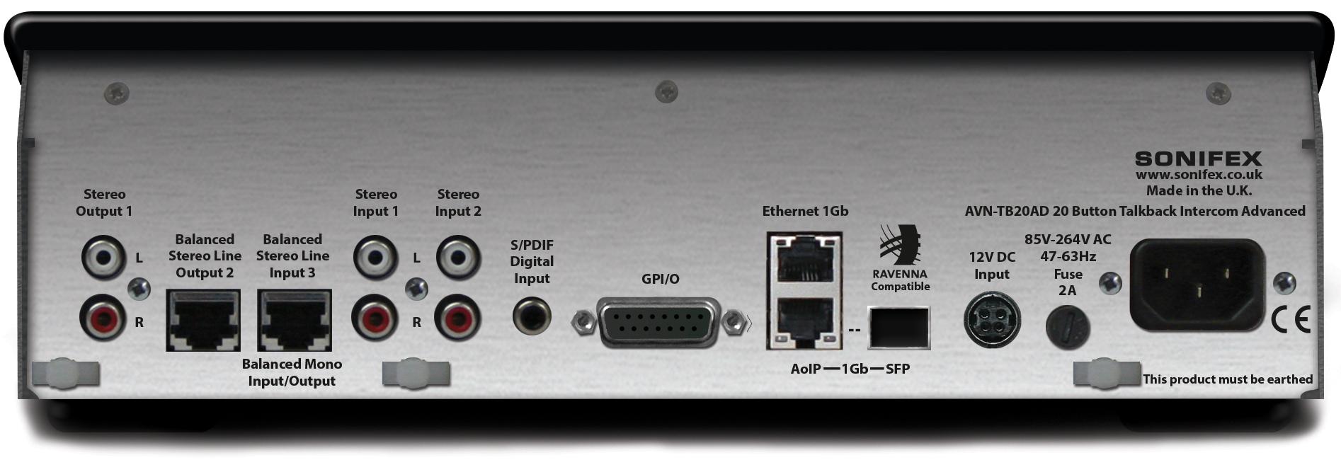 Sonifex Avn Tb20ad 20 Button Advanced Talkback Intercom Aoip Fuse Box Buttons High Resolution Image Of Rear View
