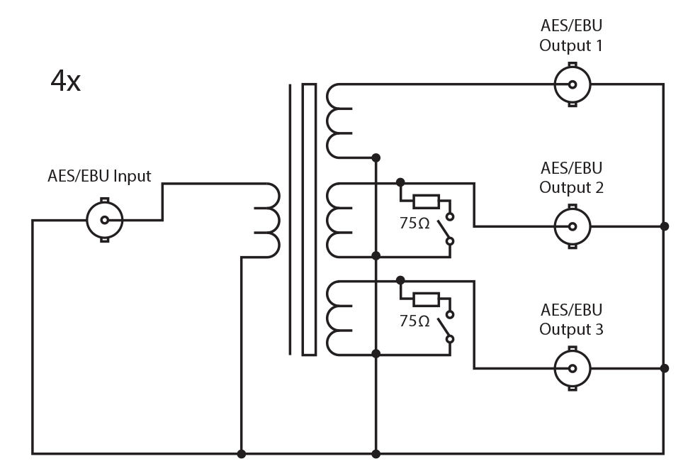 rb aes4b3_diagram_300dpi sonifex rb aes4b3 quad 3 way aes ebu passive splitter bnc connectors