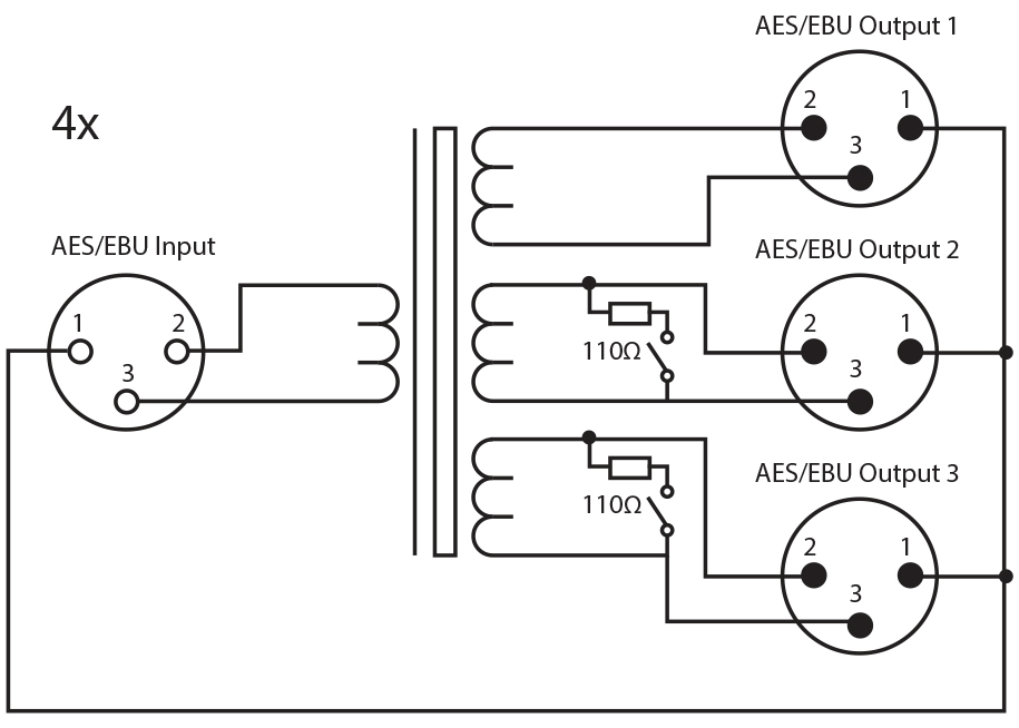 rb aes4x3_diagram_300dpi sonifex rb aes4x3 quad 3 way aes ebu splitter xlr connectors