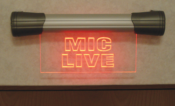 MIC LIVE Sign above a doorway